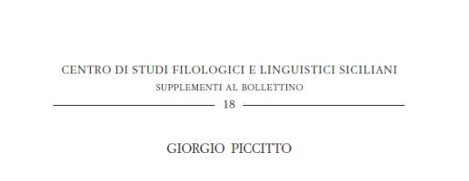 Giorgio Piccitto | Studi di linguistica siciliana (2 voll.)